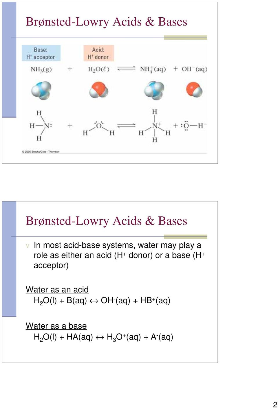 donor) or a base (H + acceptor) Water as an acid H 2 O(l) + B(aq) OH