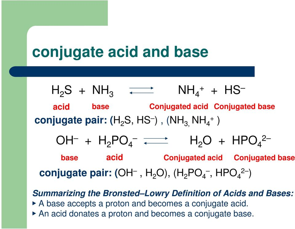conjugate pair: (OH, H 2 O), (H 2 PO 4, HPO 4 2 ) Summarizing the Bronsted Lowry Definition of Acids and