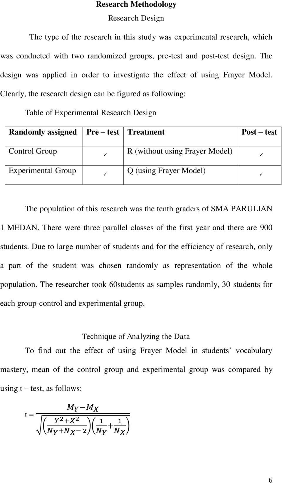 Clearly, the research design can be figured as following: Table of Experimental Research Design Randomly assigned Pre test Treatment Post test Control Group R (without using Frayer Model)
