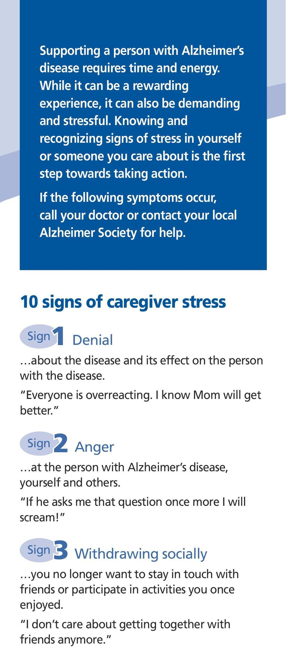 If the following symptoms occur, call your doctor or contact your local Alzheimer Society for help.