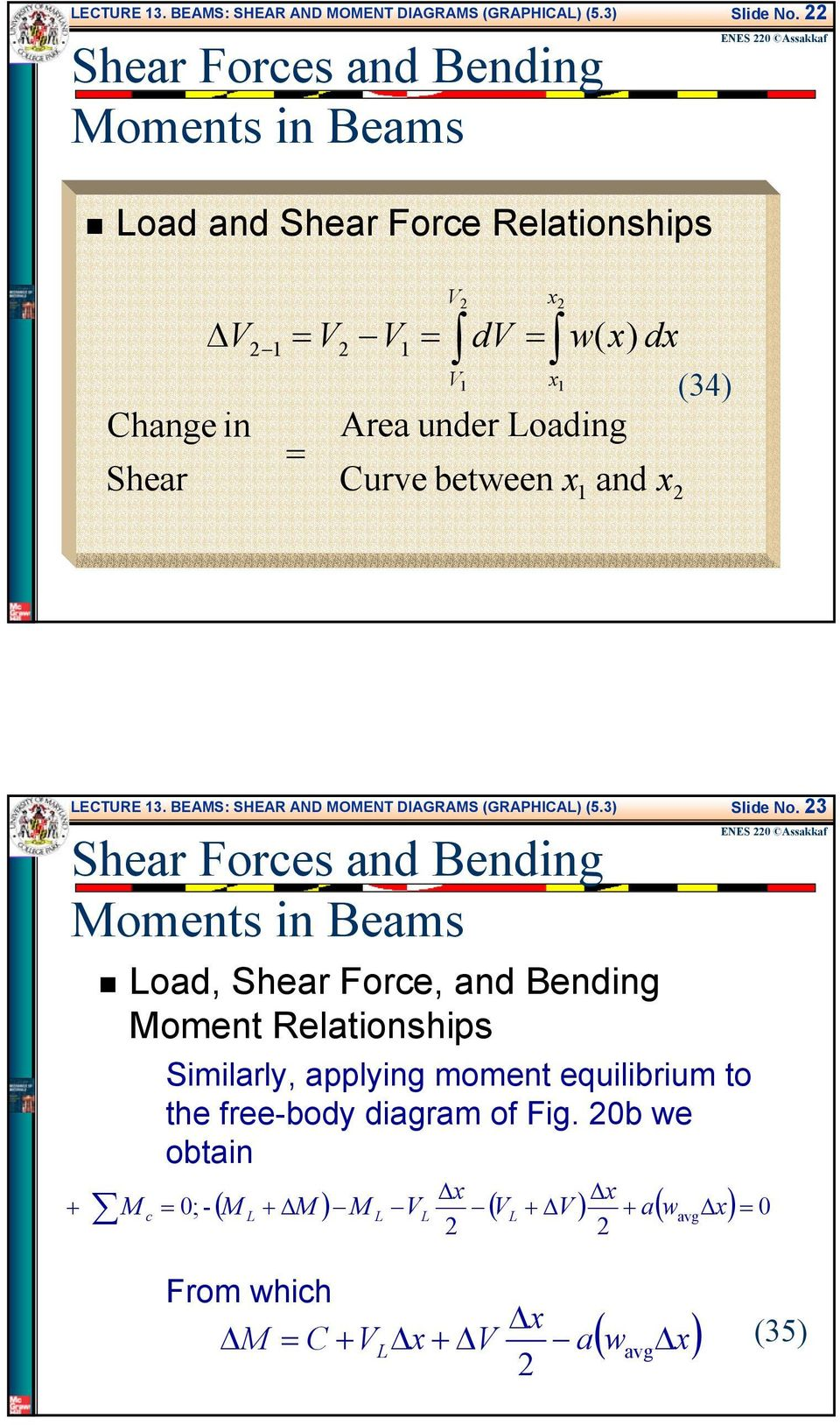 Beams Shear And Moment Diagrams Graphical Pdf Force 34 3 Similarly Applying Equilibrium To The Free Body Diagram Of