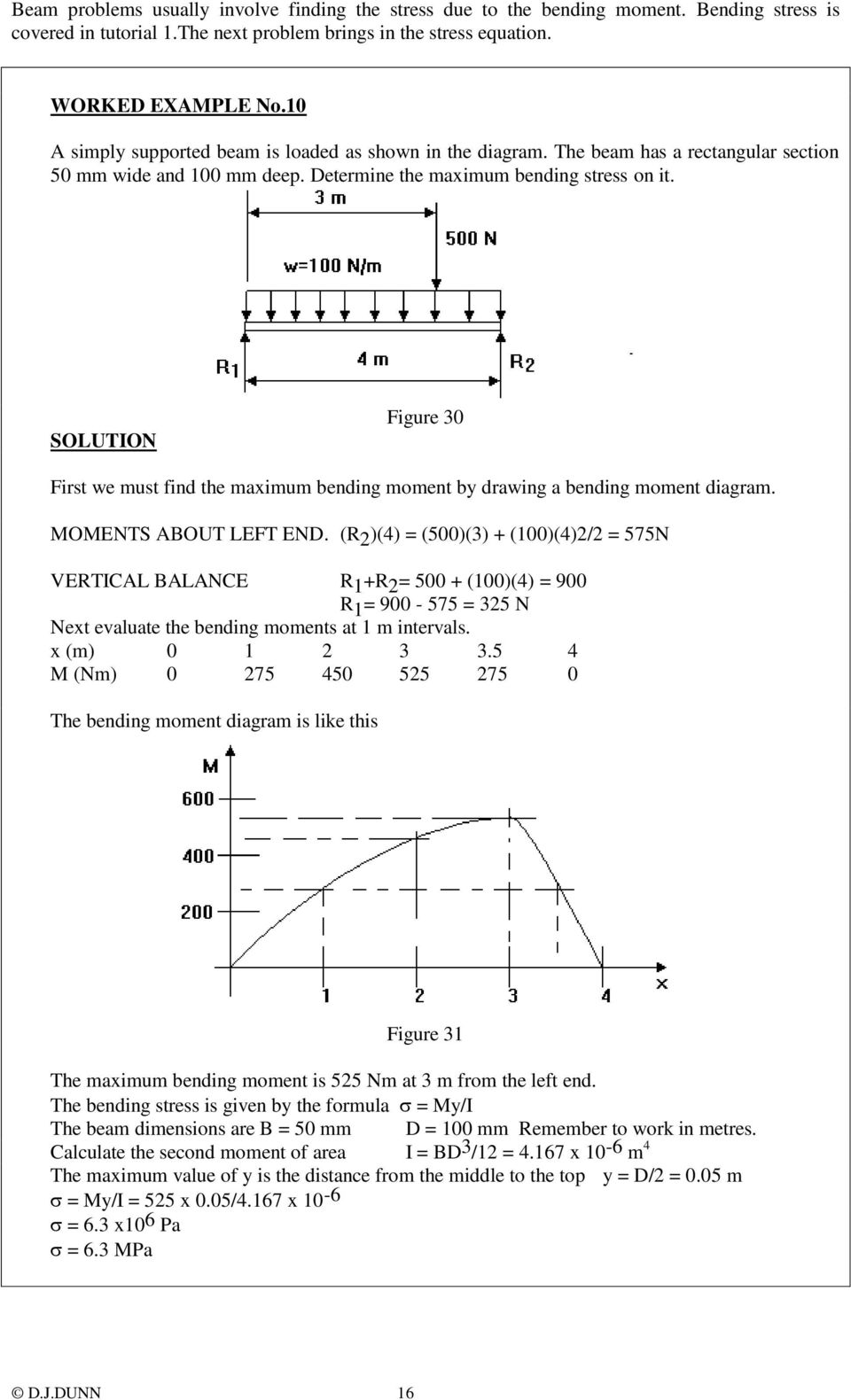 SOLUTION Figure 30 First we must find the maximum bending moment by drawing a bending moment diagram. MOMENTS ABOUT LEFT END.