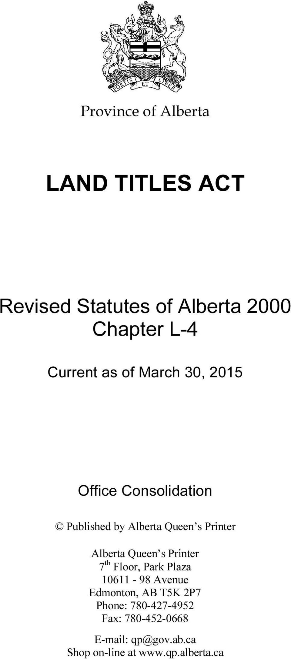 Province of Alberta LAND TITLES ACT  Revised Statutes of