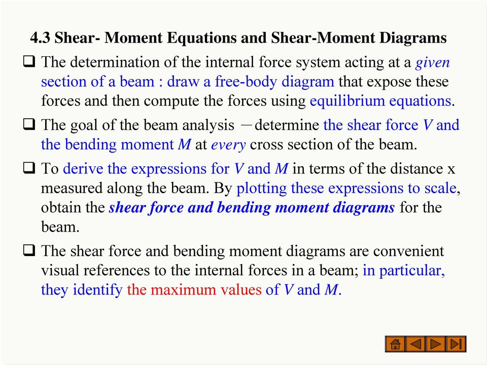 To derive the expressions for V and M in terms of the distance x measured along the beam.