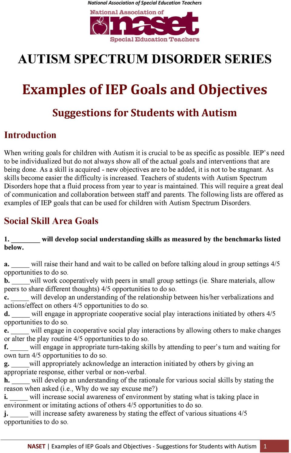 examples of social goals for students