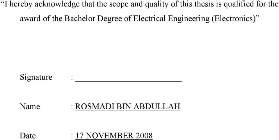 Bachelor Degree of Electrical Engineering