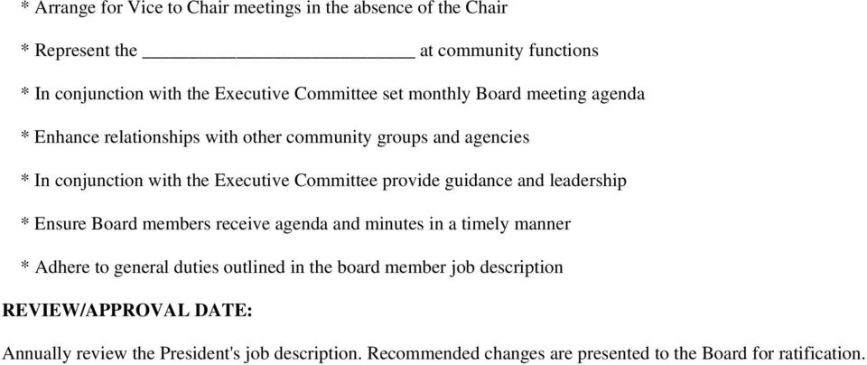 provide guidance and leadership * Ensure Board members receive agenda and minutes in a timely manner * Adhere to general duties outlined in the board