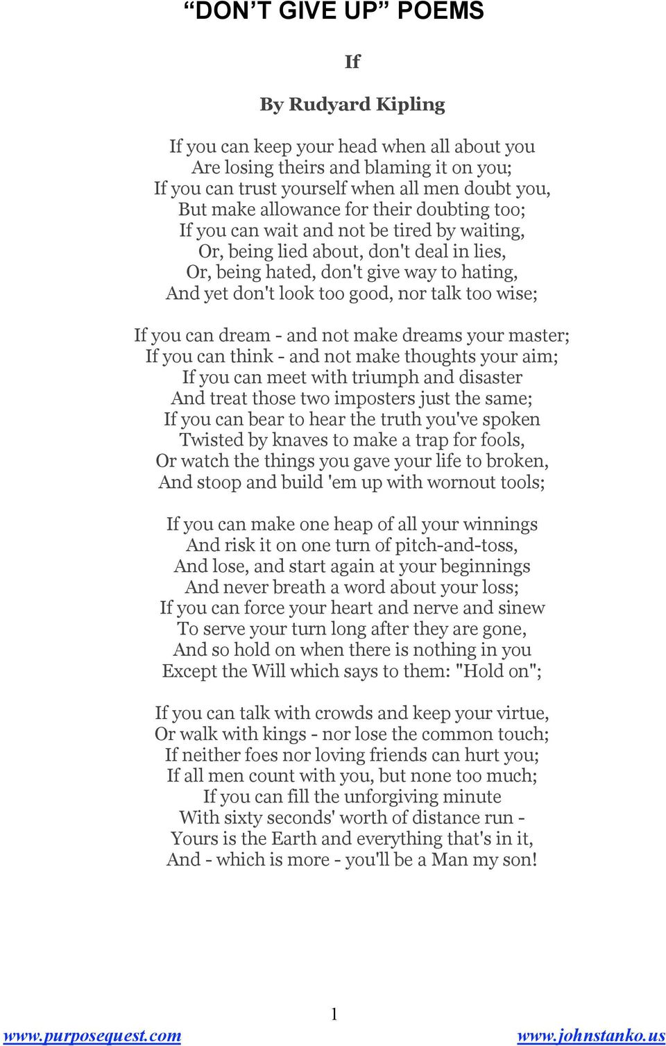 Commandment of Rudyard Kipling. Read and reread