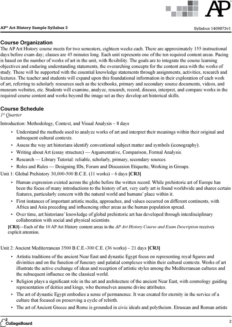 ap art history sample syllabus pdf the goals are to integrate the course learning objectives and enduring understanding statements the overarching