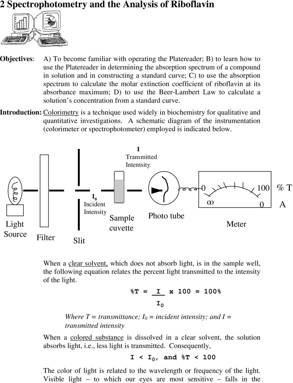 Beer-Lambert Law to calculate a solution s concentration from a standard curve. Introduction: Colorimetry is a technique used widely in biochemistry for qualitative and quantitative investigations.