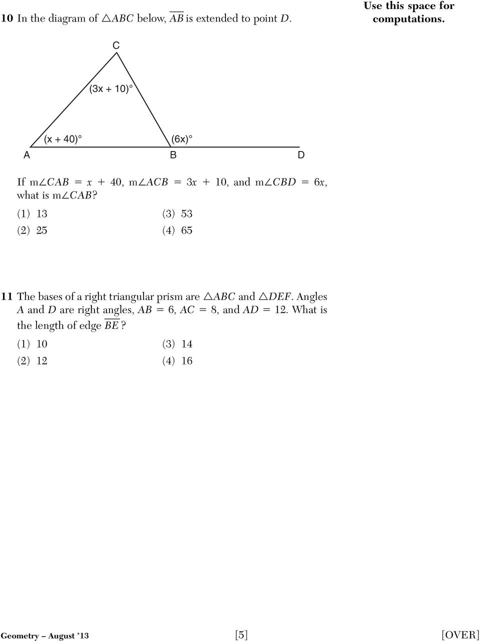 (1) 13 (3) 53 (2) 25 (4) 65 11 The bases of a right triangular prism are ABC and DEF.