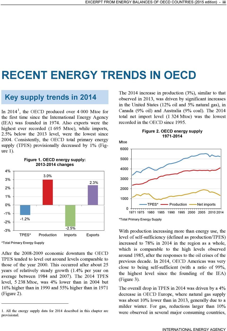 Consistently, the OECD total primary energy supply (TPES) provisionally decreased by 1% (Figure 1).