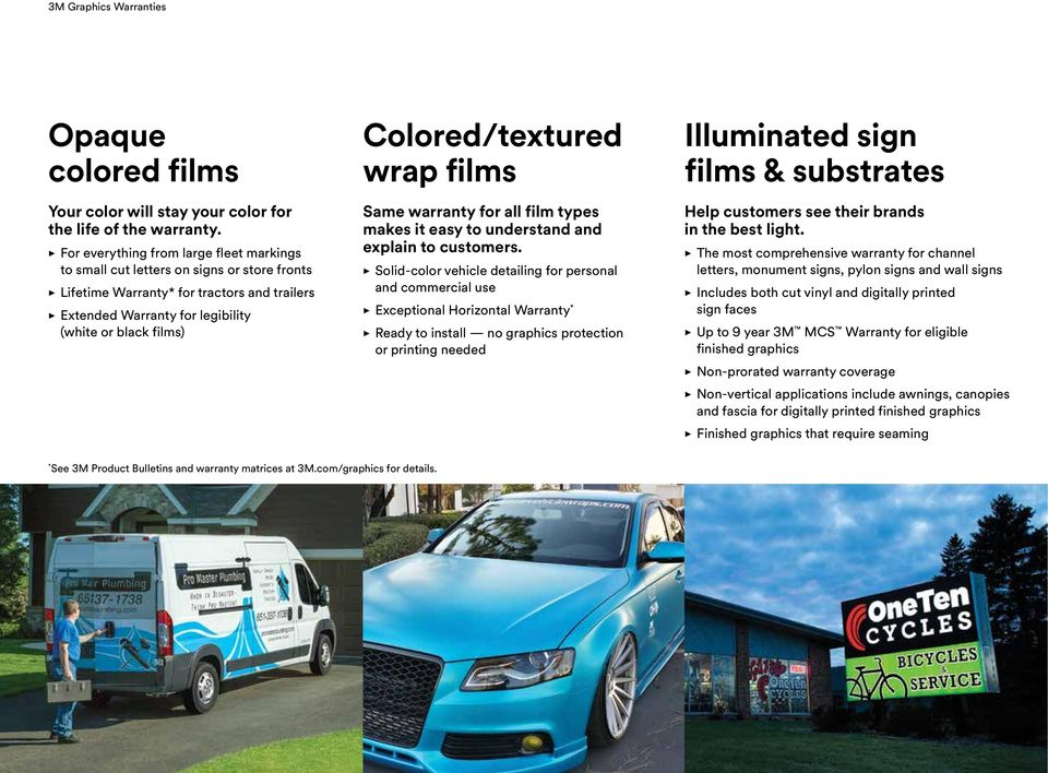 Colored/textured wrap films Same warranty for all film types makes it easy to understand and explain to customers.