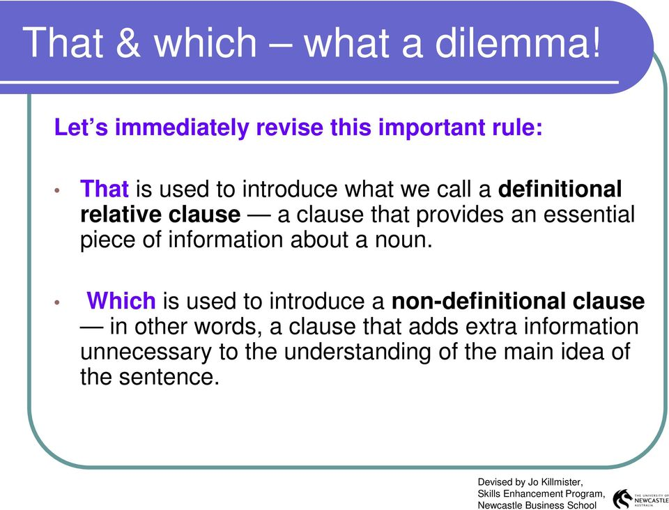 definitional relative clause a clause that provides an essential piece of information about a