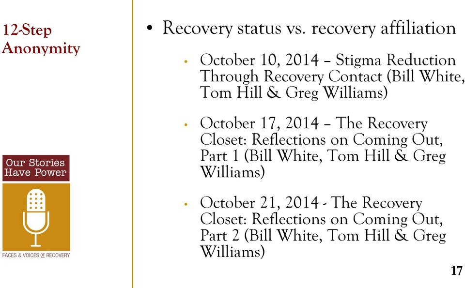 Tom Hill & Greg Williams) October 17, 2014 The Recovery Closet: Reflections on Coming Out, Part