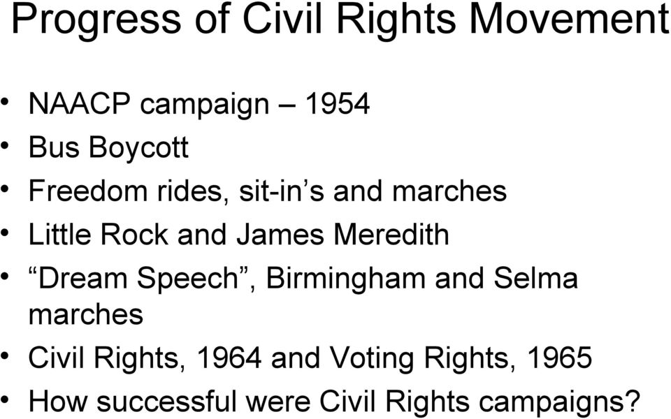 Meredith Dream Speech, Birmingham and Selma marches Civil Rights,