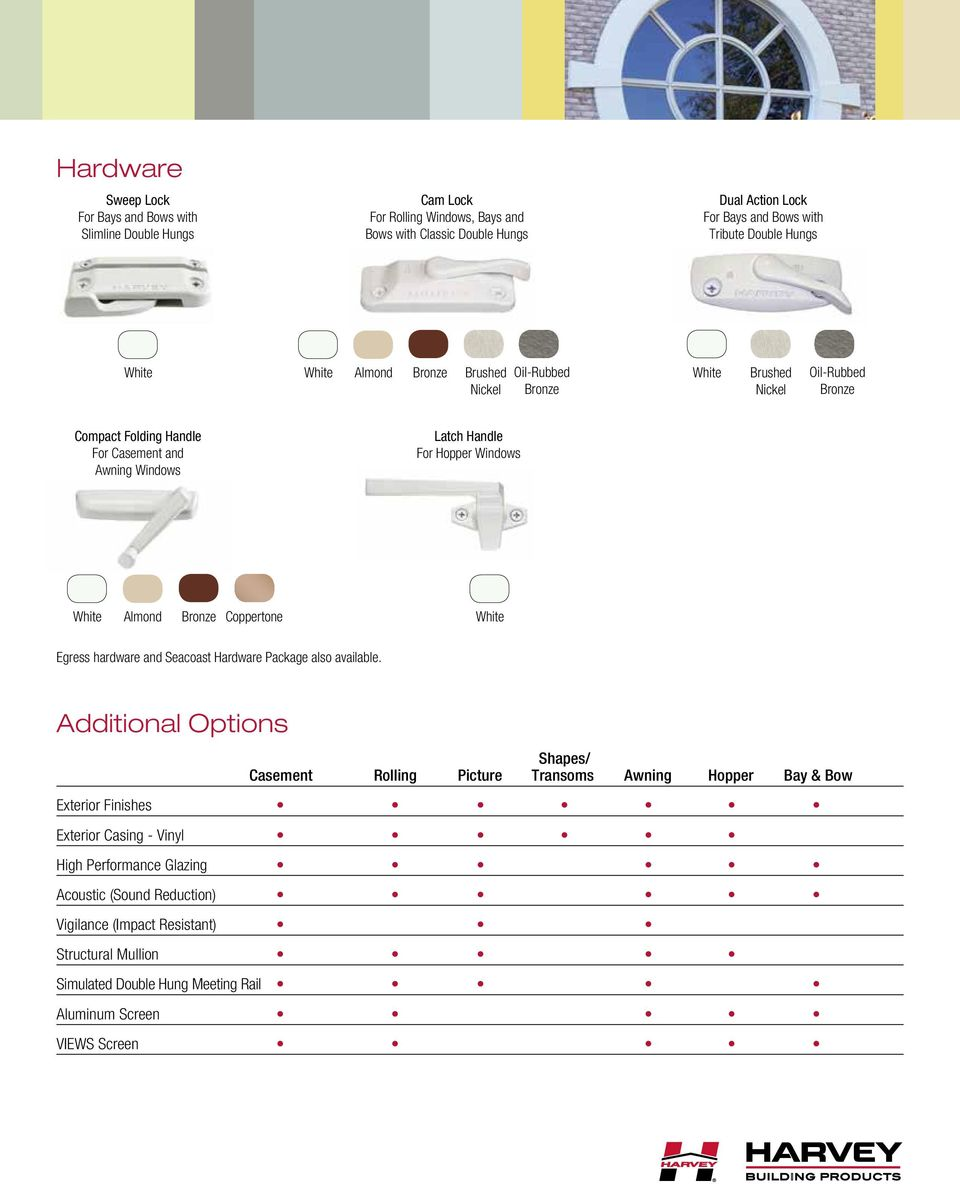 Almond Bronze Coppertone Egress hardware and Seacoast Hardware Package also available.