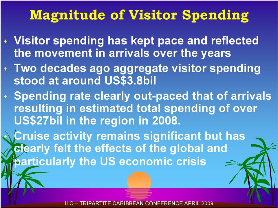 8bil Spending rate clearly out-paced that of arrivals resulting in estimated total spending of over US$27bil