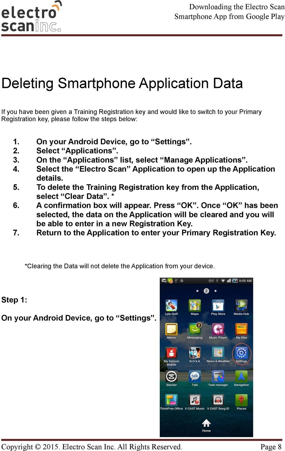 To delete the Training Registration key from the Application, select Clear Data. * 6. A confirmation box will appear. Press OK.