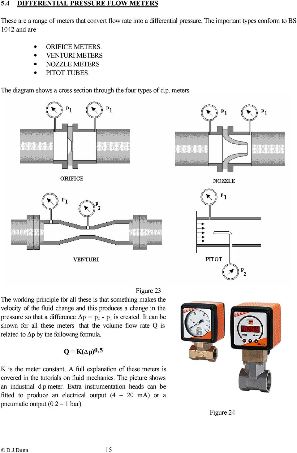 Figure 23 The working principle for all these is that something makes the velocity of the fluid change and this produces a change in the pressure so that a difference p = p 2 - p 1 is created.