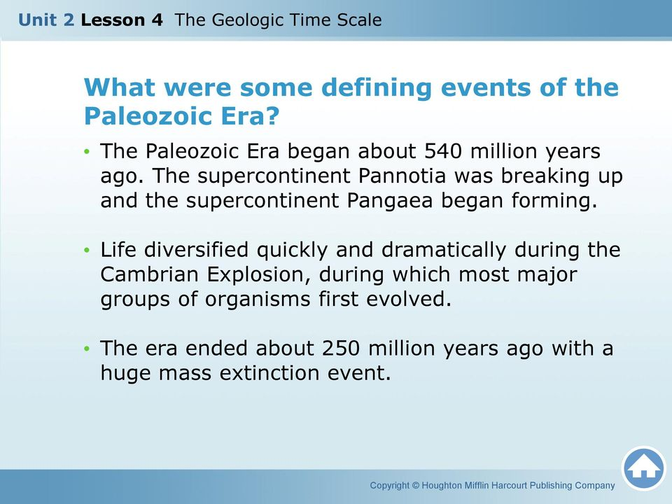 The supercontinent Pannotia was breaking up and the supercontinent Pangaea began forming.