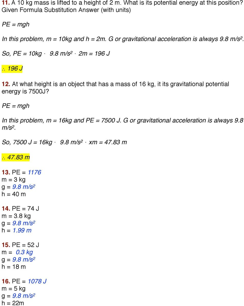 Kinetic and potential energy calculations worksheet answers ace print gravitational potential energy definition formula examples worksheet 8 m s 2 2m 196 j 196 j 12 at what height pooptronica
