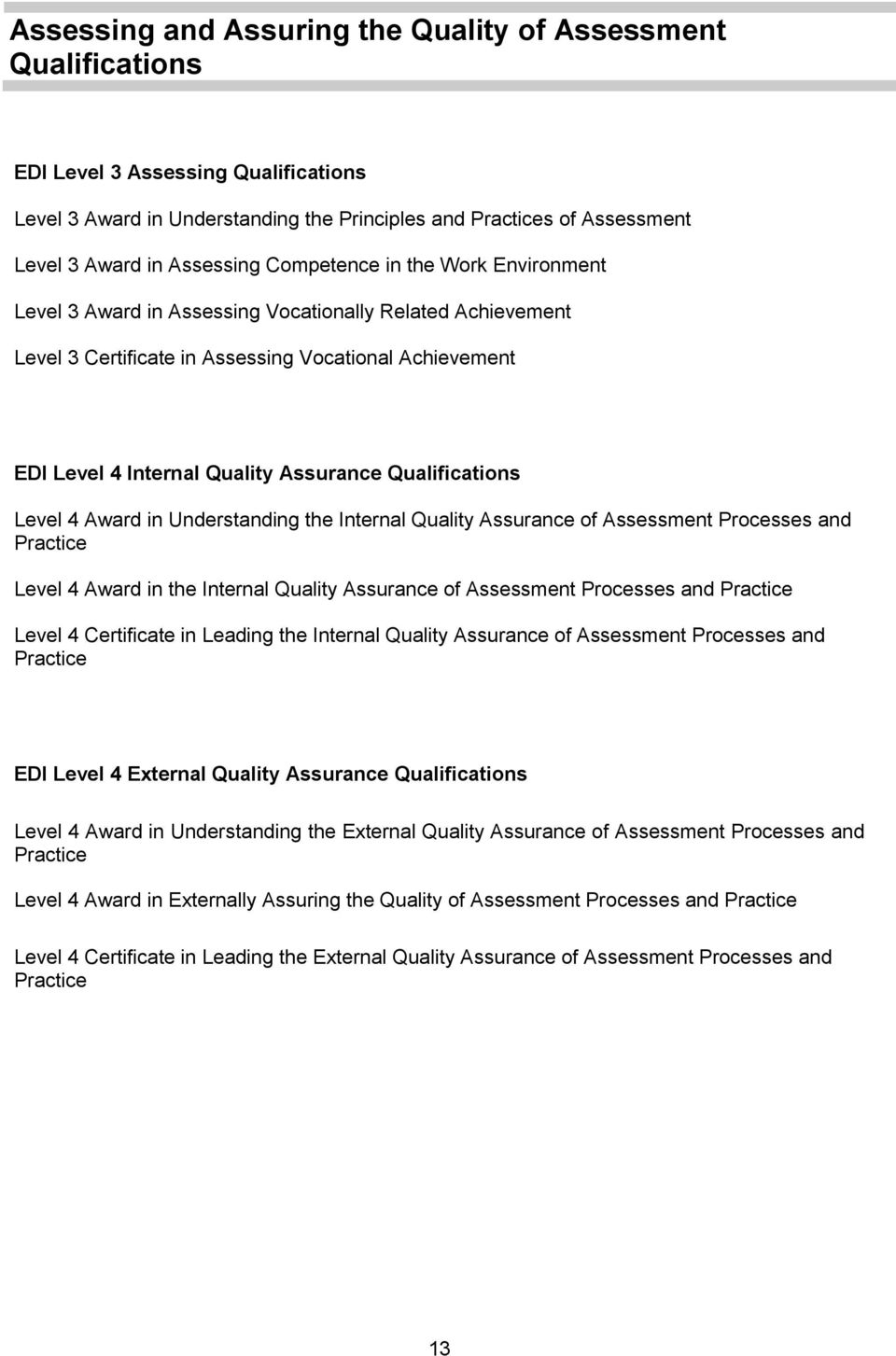 Qualifications Level 4 Award in Understanding the Internal Quality Assurance of Assessment Processes and Practice Level 4 Award in the Internal Quality Assurance of Assessment Processes and Practice