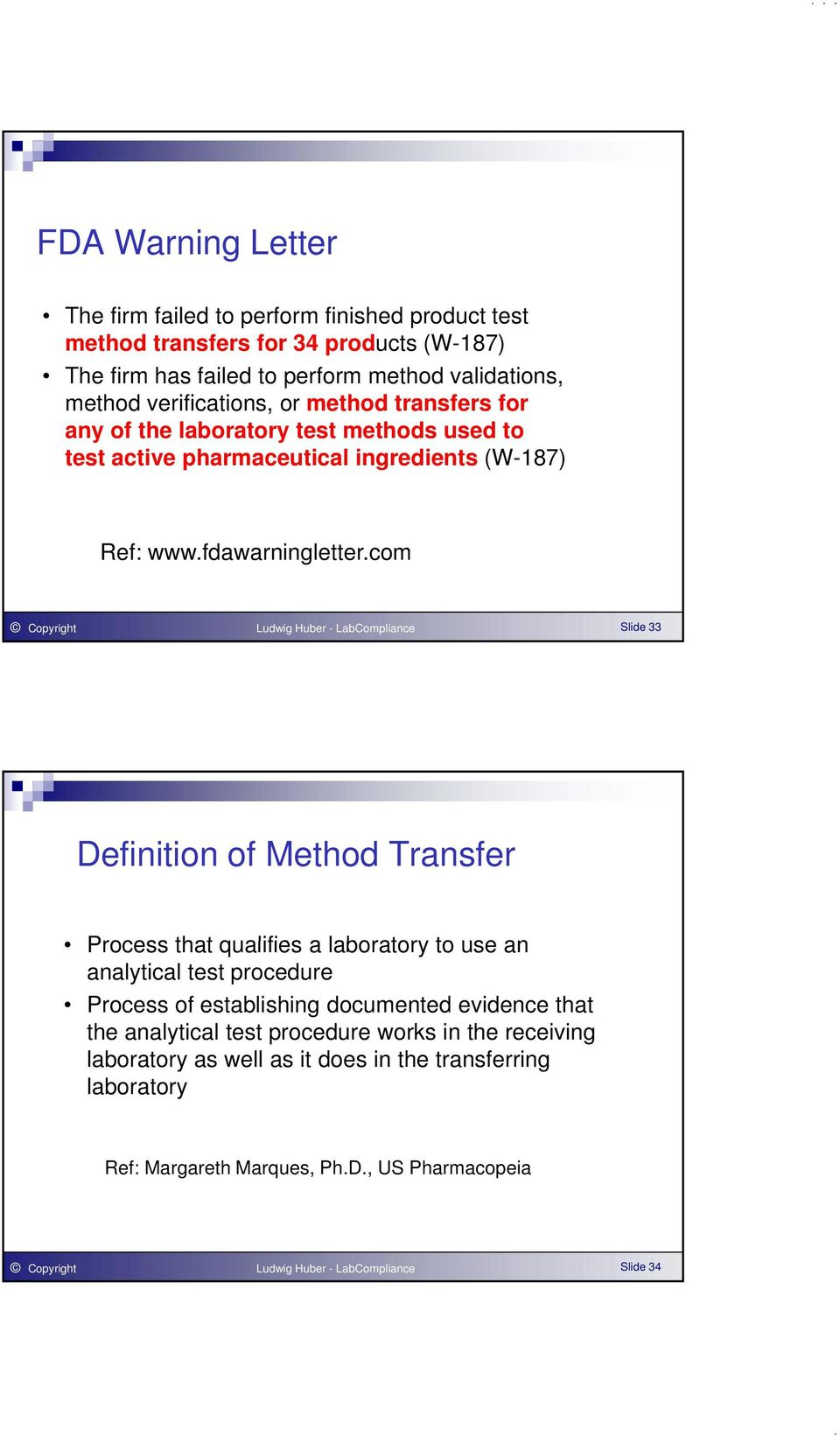 com Copyright Ludwig Huber - LabCompliance Slide 33 Definition of Method Transfer Process that qualifies a laboratory to use an analytical test procedure Process of establishing