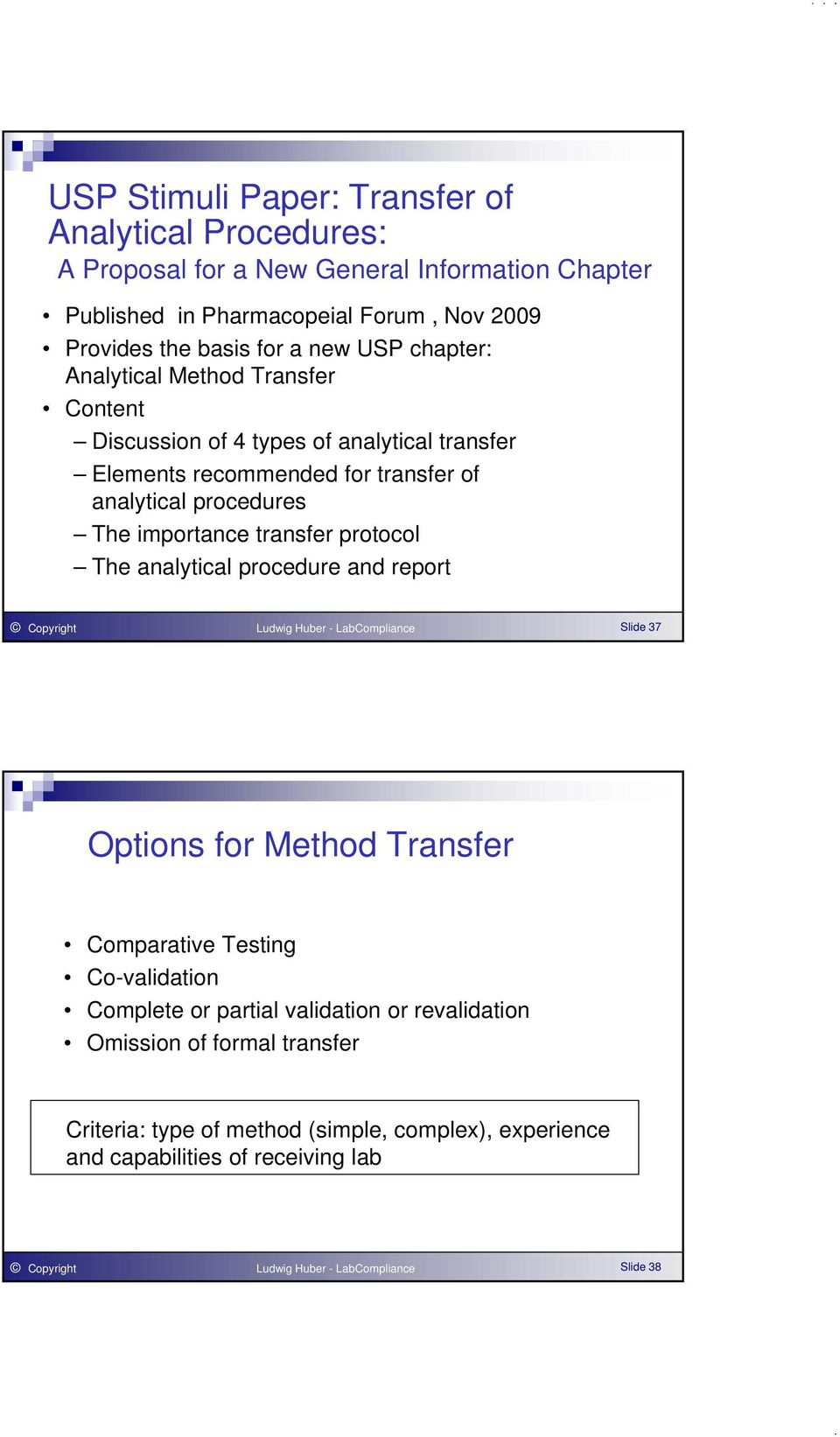 protocol The analytical procedure and report Copyright Ludwig Huber - LabCompliance Slide 37 Options for Method Transfer Comparative Testing Co-validation Complete or partial