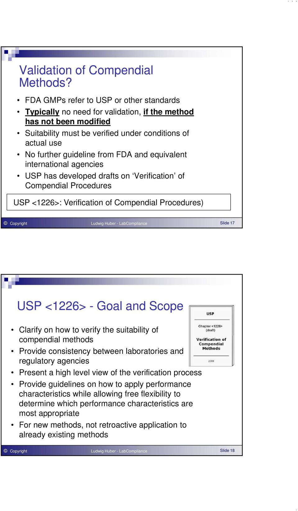 FDA and equivalent international agencies USP has developed drafts on Verification of Compendial Procedures USP <1226>: Verification of Compendial Procedures) Copyright Ludwig Huber - LabCompliance