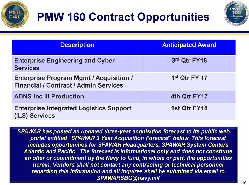 "portal entitled ""SPAWAR 3 Year Acquisition Forecast"" below. This forecast includes opportunities for SPAWAR Headquarters, SPAWAR System Centers Atlantic and Pacific."