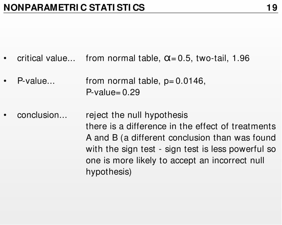 .. reject the null hypothesis there is a difference in the effect of treatments A and B (a