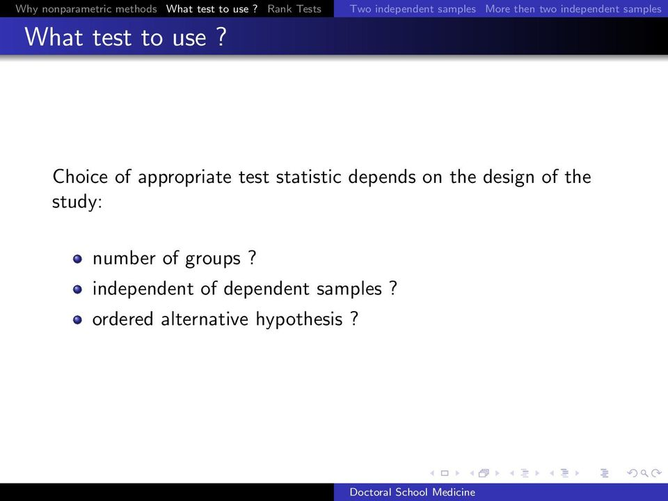 What test to use?