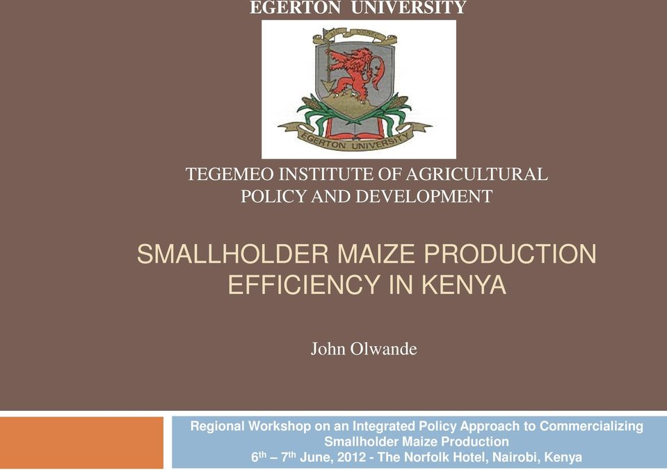 Regional Workshop on an Integrated Policy Approach to Commercializing