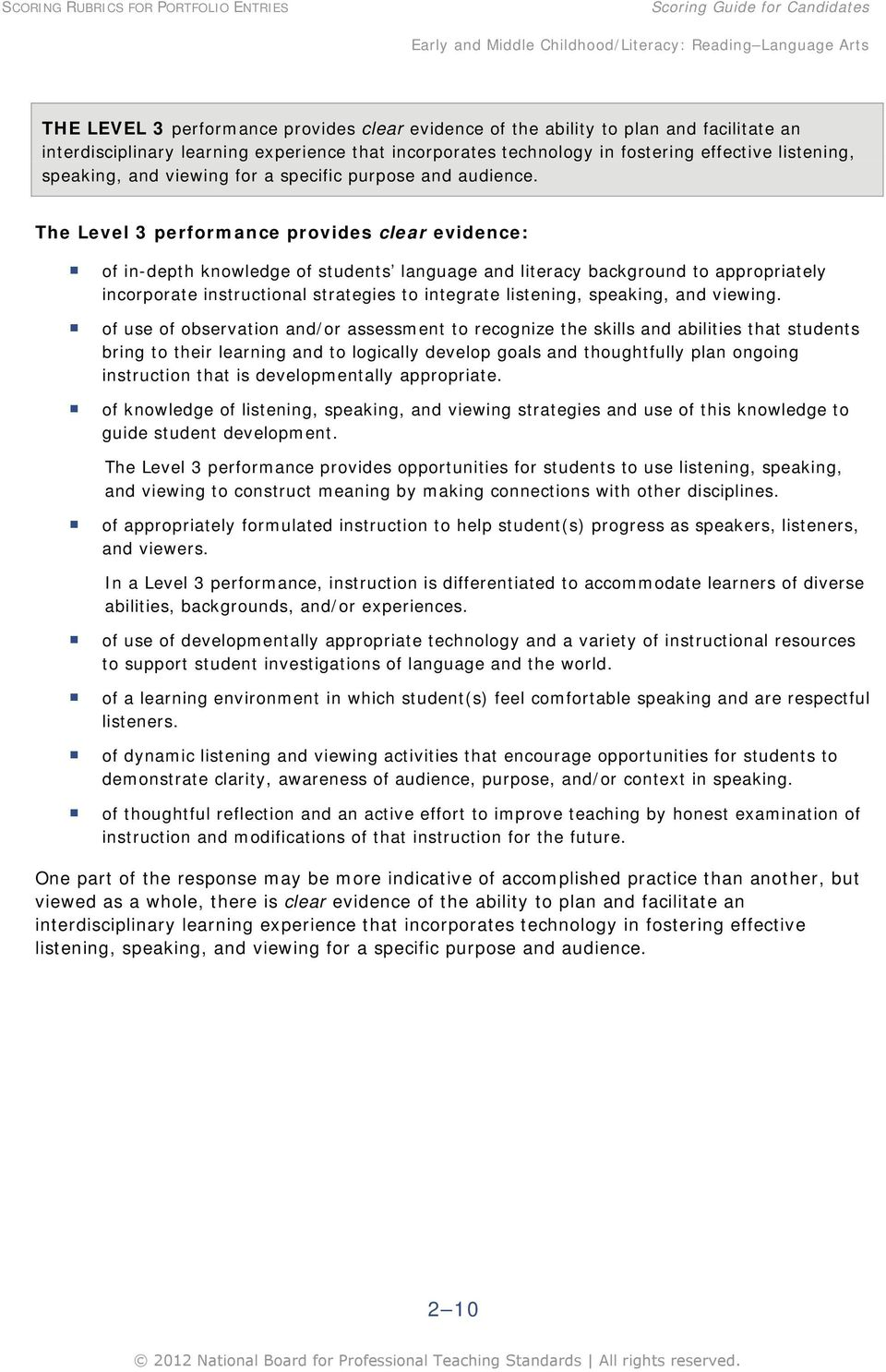 The Level 3 performance provides clear evidence: of in-depth knowledge of students language and literacy background to appropriately incorporate instructional strategies to integrate listening,