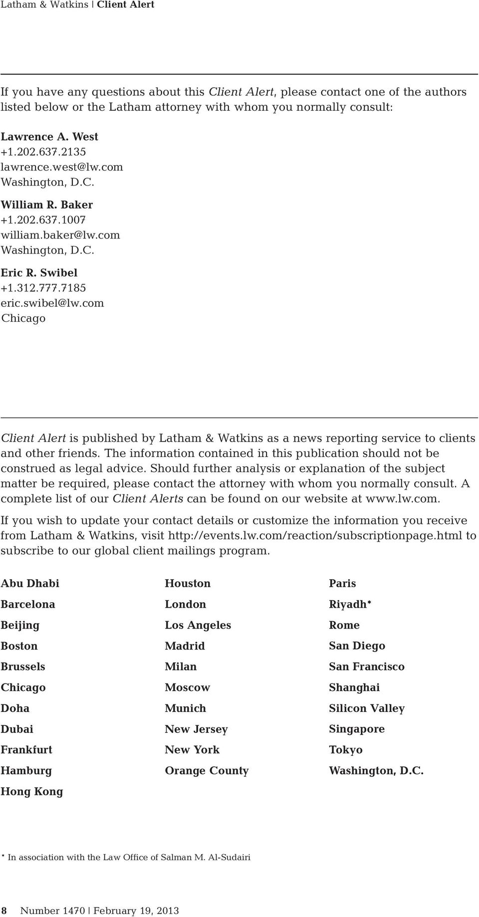 com Chicago Client Alert is published by Latham & Watkins as a news reporting service to clients and other friends.