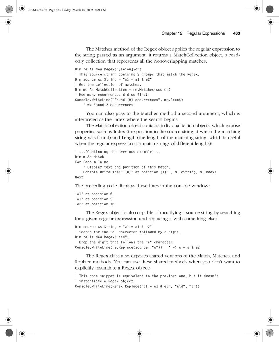 C fm Page 481 Friday, March 15, :21 PM  Regular Expressions - PDF
