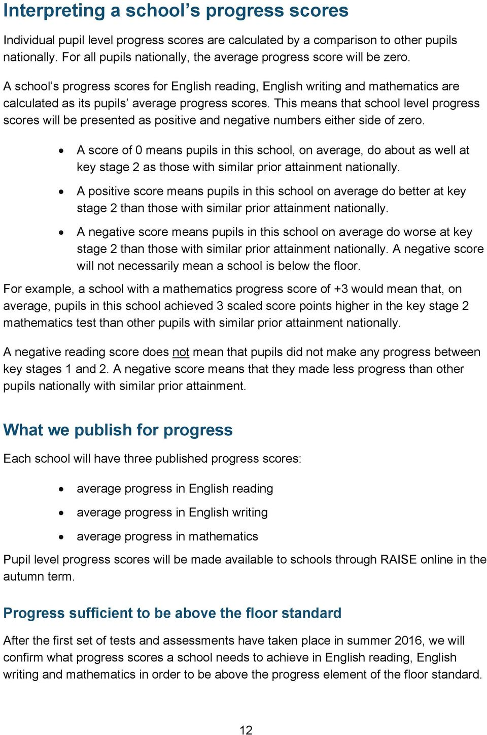 A school s progress scores for English reading, English writing and mathematics are calculated as its pupils average progress scores.