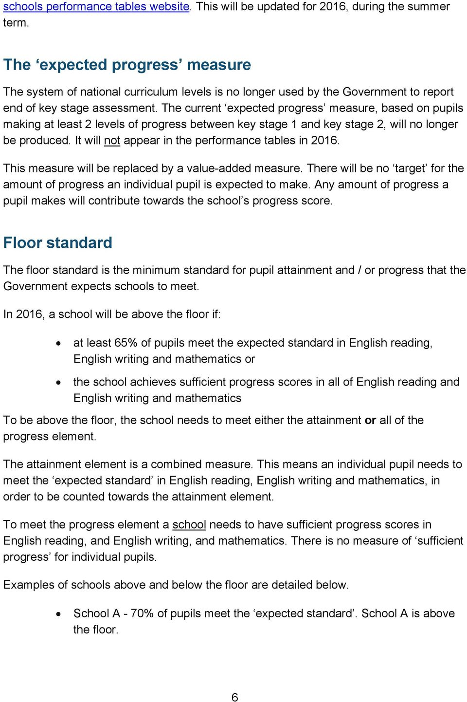 The current expected progress measure, based on pupils making at least 2 levels of progress between key stage 1 and key stage 2, will no longer be produced.