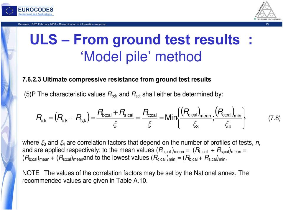 08 Dissemination of information workshop 13 ULS From ground test results : Model pile method 7.6.2.