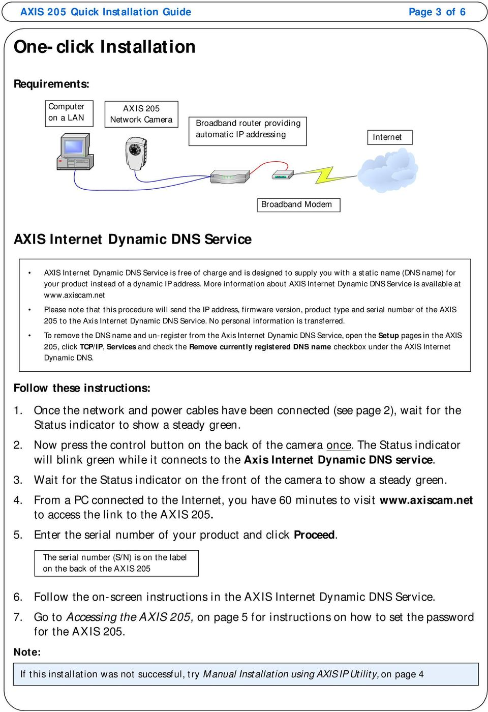 address. More information about AXIS Internet Dynamic DNS Service is available at www.axiscam.