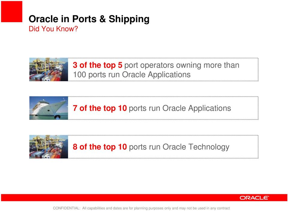 ports run Oracle Applications 7 of the top 10 ports