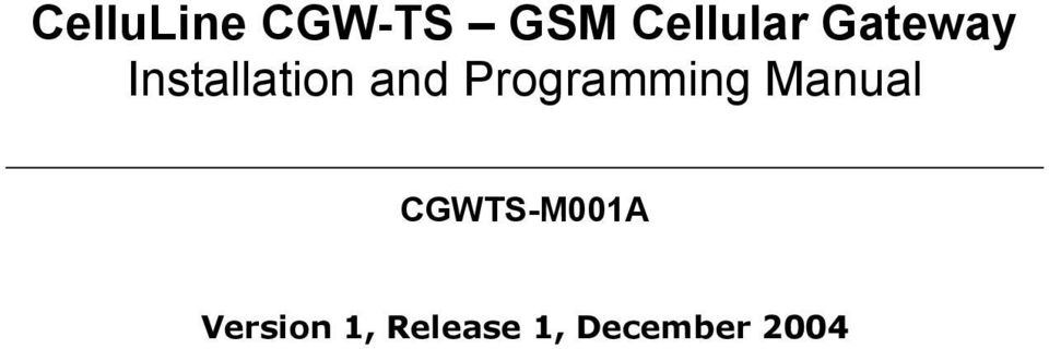 Programming Manual CGWTS-M001A