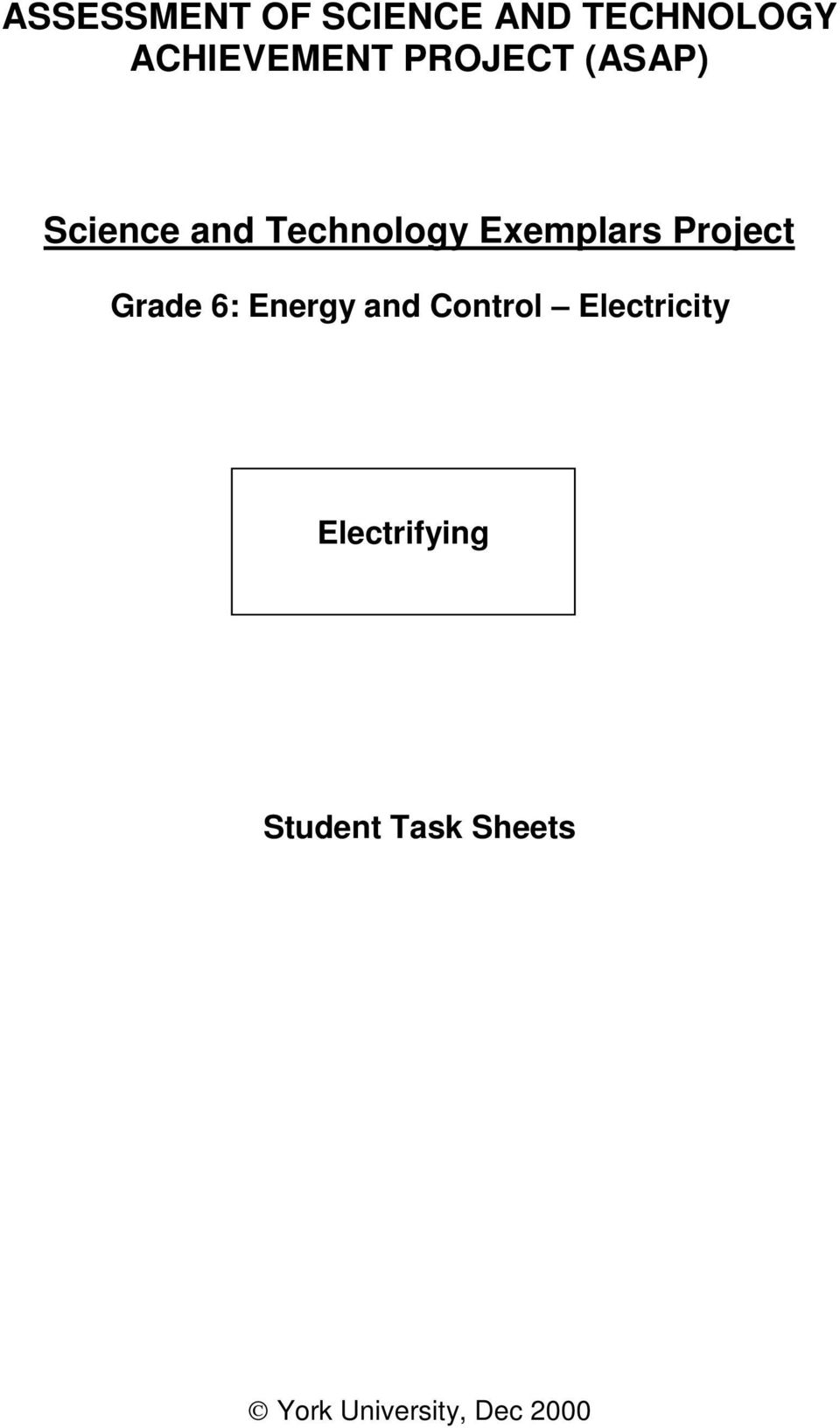 Project Grade 6: Energy and Control Electricity