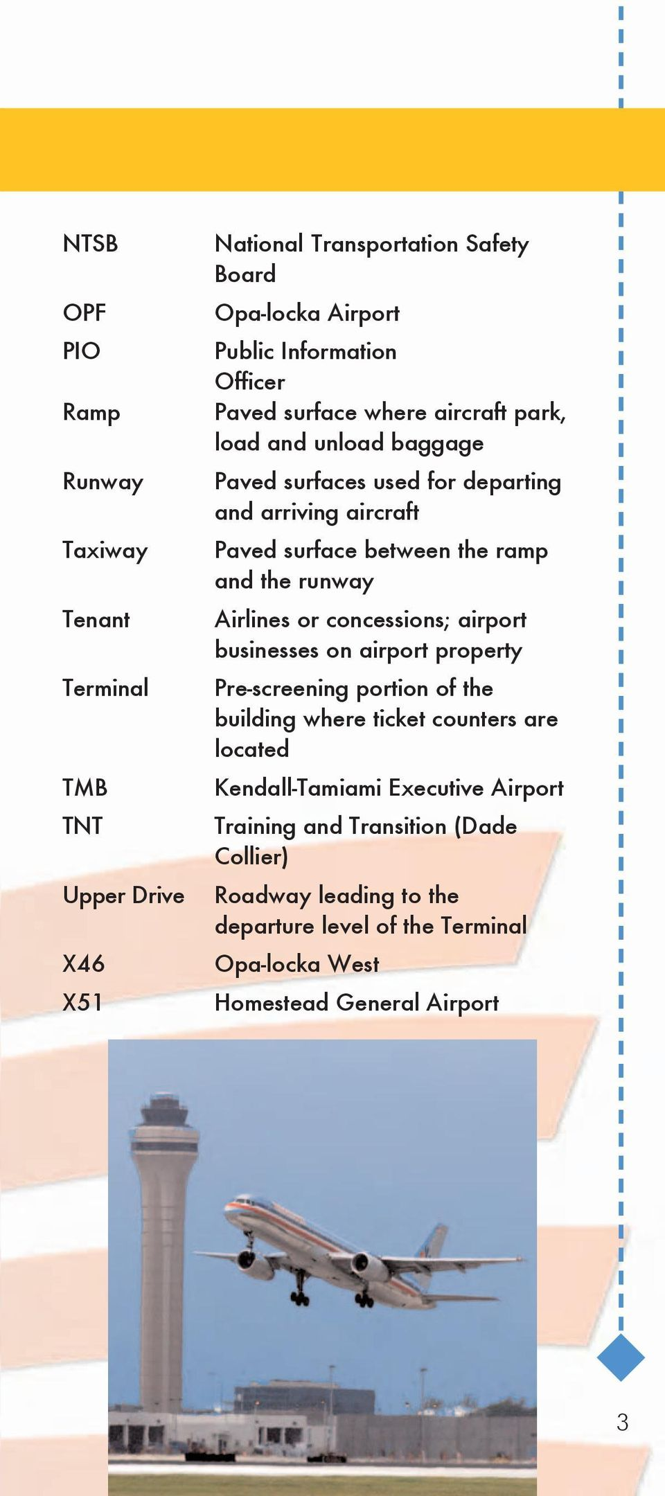 and the runway Airlines or concessions; airport businesses on airport property Pre-screening portion of the building where ticket counters are located