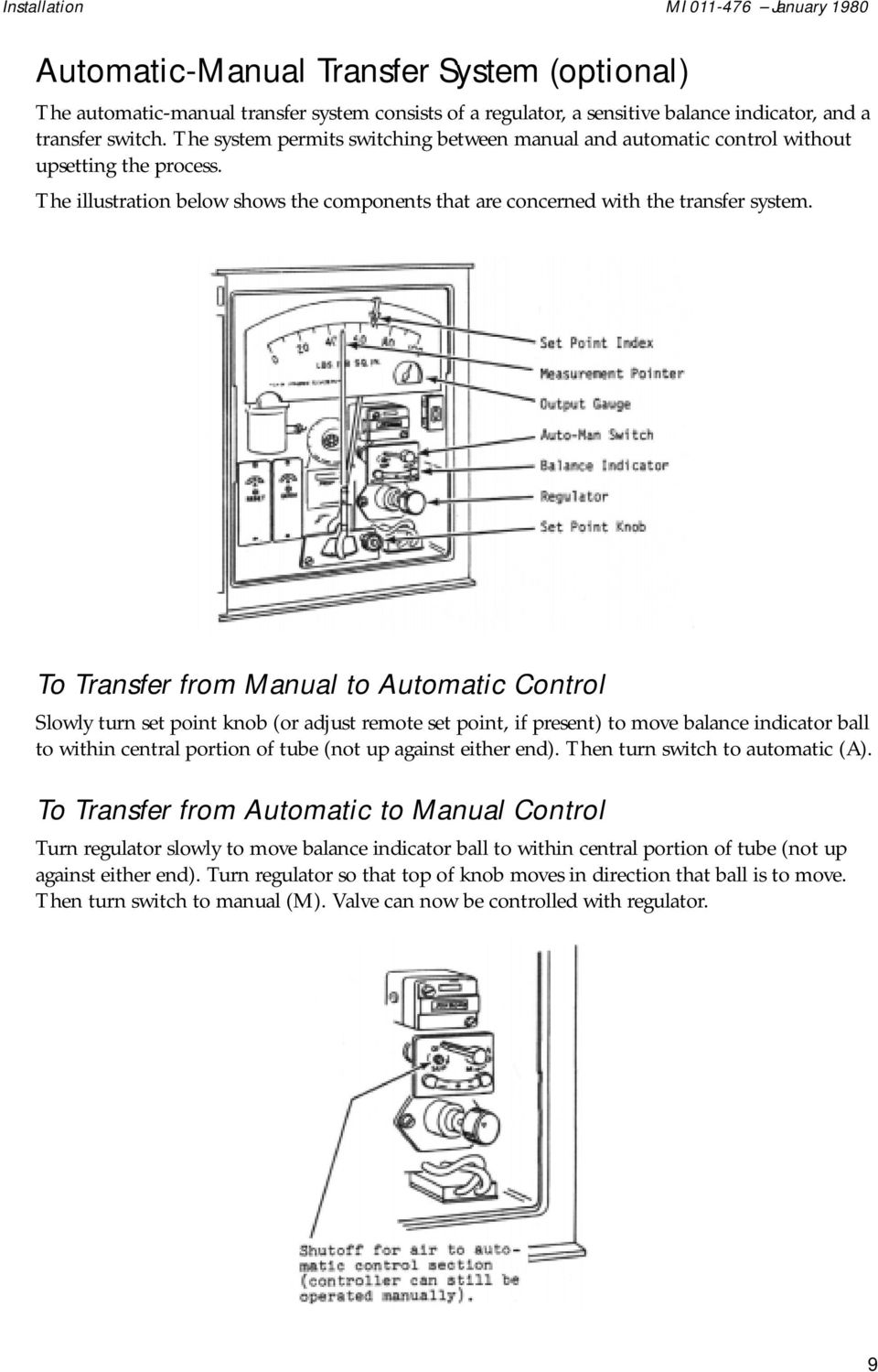To Transfer from Manual to Automatic Control Slowly turn set point knob (or adjust remote set point, if present) to move balance indicator ball to within central portion of tube (not up against