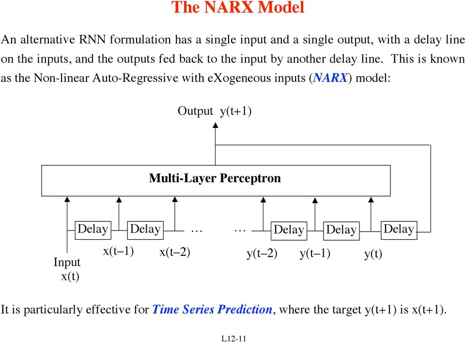 This is known as the Non-linear Auto-Regressive with exogeneous inputs (NARX) model: Output y(t+1) Multi-Layer