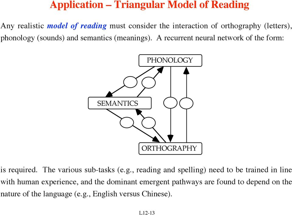 A recurrent neural network of the form: PHONOLOGY SEMANTICS ORTHOGRAPHY is required. The various sub-tasks (e.g.