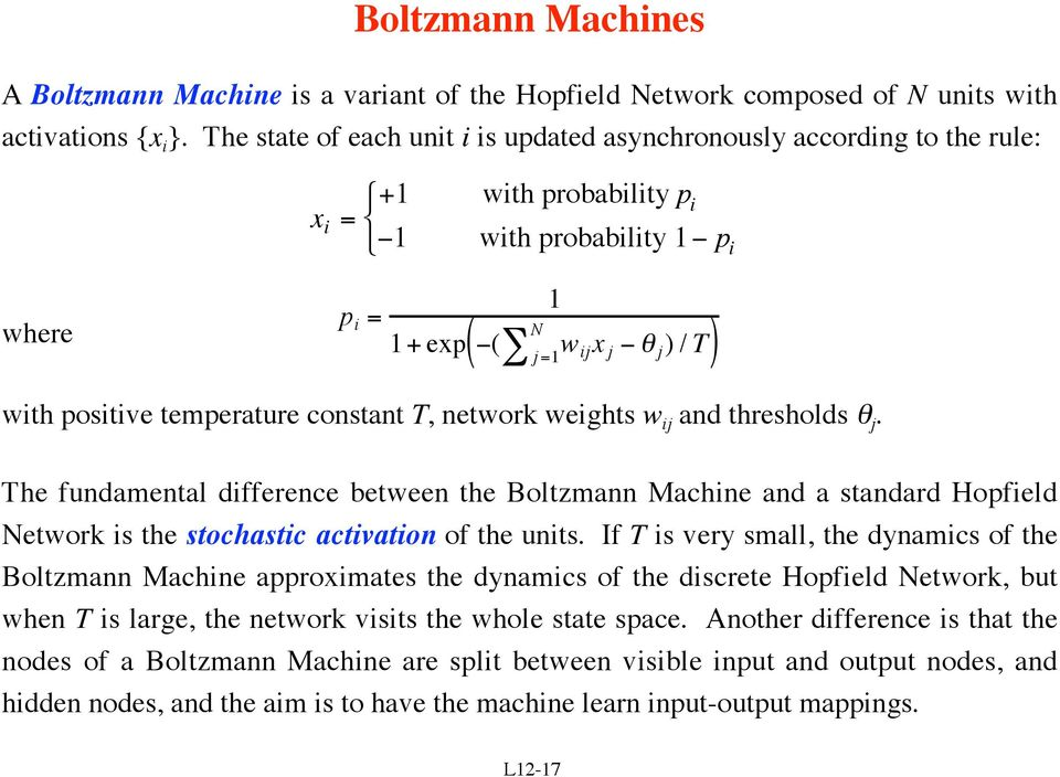 temperature constant T, network weights w ij and thresholds θ j. The fundamental difference between the Boltzmann Machine and a standard Hopfield Network is the stochastic activation of the units.