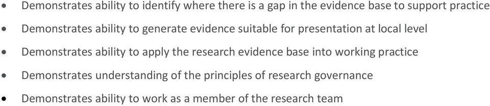 ability to apply the research evidence base into working practice Demonstrates understanding of